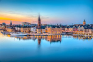 Sunset,View,Of,Gamla,Stan,In,Stockholm,From,Sodermalm,Island,